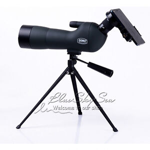 GOMU 20-60x60 Zoom Spotting Scope Monocular +Tripod+Cellphone Adapter+Carry Case