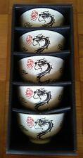 Set of 5 Chinese Porcelain Dragon Rice Bowls