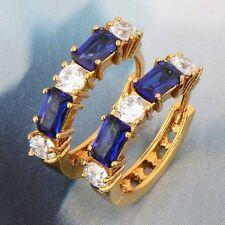 Vintage Women's 9K Gold Filled White Blue clear crystal Ear Hoop Earring