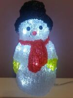 Lumineo Indoor & Outdoor LED Acrylic Snowman Cool White Lights 29cm Red Scarf