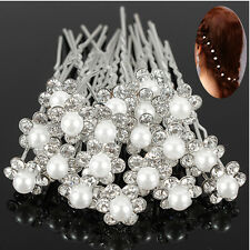 Hot 20Pcs Wedding Bridal Pearl Flower Crystal Hair Pins Clips Bridesmaid US