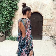 Backless Floral Maxi Gown Dress Size 14-16