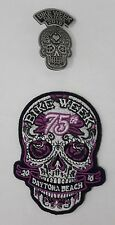 Sugar Skull Pin and Patch Embroidered sew on; Bike Week 2016, 75th annual