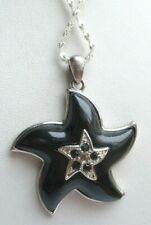 pendentif belle chaîne 925 étoile résine noir couleur argent bijou rétro 1903