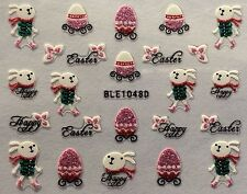 Nail Art 3D Sticker Glitter Decals Happy Easter Bunny Easter Egg Ble1048D