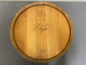 Wine Barrel Head Lazy Susan with Band Elyse Winery in Napa Valley