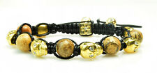 Mens Womens Rhinestone Agate Beaded Gold Skull Bracelet Adjustable