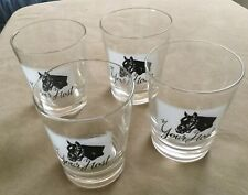 """Set Of 4 Glasses """"Your Host"""" Famous Thoroughbred Racehorse"""