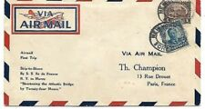 SHIP to SHORE - ILE de FRANCE 1928 CATAPULT Cover to PARIS w # 571 ($1 Linc Mem)