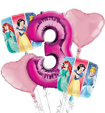 DISNEY PRINCESS 3rd Birthday 5x BALLOON Bouquet Age 3 -  5 Foil Helium Balloons