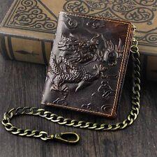 Vintage Dragon Mens Wallet Slim Card Money Purse Wi/ Safe Chain