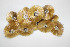 """12pc Brass Wire Brush Wheels 1.5"""" Fits Rotary Tool for Cleaning Rust Removal"""