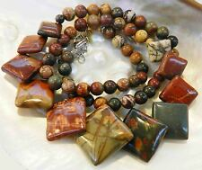 Natural 6-20mm Multicolor Picasso Jasper Round & Square Beads Necklace