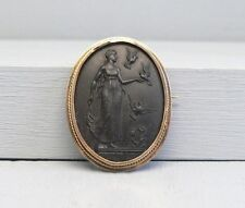 Incredible 14K Gold Large Black Cameo Pin Pendant Venus With Doves