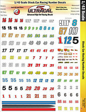 MG3240 - 1/43 UltraCal High Def Decals Stock Car Racing Numbers