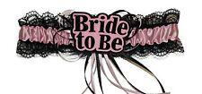 Bride to be Baby Pink & Black Garter Hen Party Girls Night Accessory w/ Tassles
