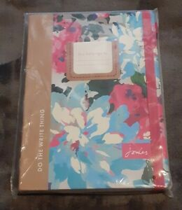 JOULES Printed A5 Notebook in Silver Floral