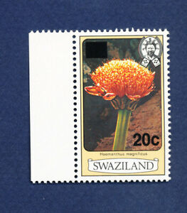 SWAZILAND - scott 467a  perf 12, 20ct on 3ct  - MNH  - Flowers - 1984