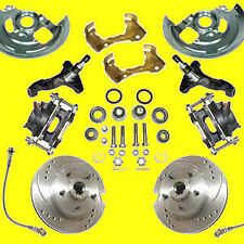 "GM Front Disc Brake Kit 2"" Drop Spindle Drilled Slotted Brakes A F & X Body New!"