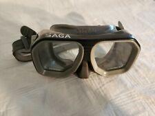 Beuchat SAGA Tempered Glass Mask Swim Snorkel Scuba Beach Black / Gray France