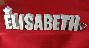 Beton, Steinguss Buchstaben 3D Deko Namen ELISABETH als Geschenk verpackt!