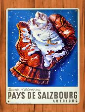 "TIN SIGN ""Pays De Salzbourg"" Ski Austria Winter Mountains Rustic Cabin Decor"