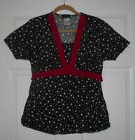 Cherokee Black Floral Scrub Medical Nursing Uniform Top Size Small