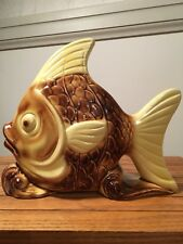 Vintage Yellow and Brown Fish Wall Pocket/Planter/Vase