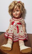 "17"" Ideal Shirley Temple Composition Doll w/ Button - Old Genuine Vintage 1930's"
