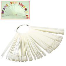 UK 50 Nail Art Tips Colour Pop Sticks Display Fan Practice Starter Ring White