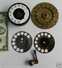 Antique phone ERICSSON Berliner? brass porcelain DIAL finger wheel crank PARTS