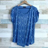 Crosby Sequin Snakeskin Print Top Blue Jersey Stretch Knit Dolman Womens Large
