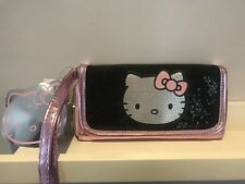 BNWT HELLO KITTY BLACK & PINK SEQUIN HANDLE BAG/PURSE CLAIRE'S ACCESSORIES