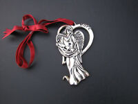 Christmas Ornament Gorham Signed Hope Angel Silver Plate Satin Ribbon