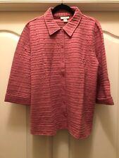 Appleseed's Petites Mauve Rose Eyelet Button Front Jacket Blouse Shirt Sz XL NWT