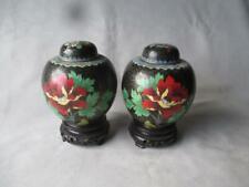 Matched Pair Vintage Chinese Cloisonne Ginger Jars / Vases