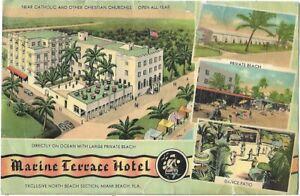 Jul 1948 MWM Color-Litho Giant Postcard MARINE TERRACE HOTEL Miami Beach Florida