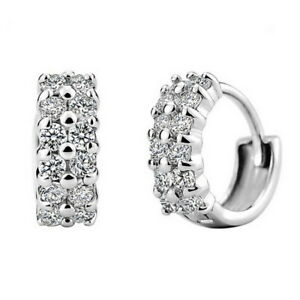 Fashion Women 925 Sterling Silver Crystal Rhinestones Hoop Earrings