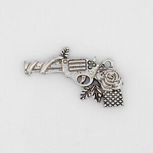 4 Gun Charms Antique Silver Tone Pistol Pendants Western Findings Rose Design