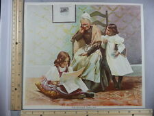 Rare Antique Original VTG Grandma's Darling 2 Little Girls Color Litho Art Print
