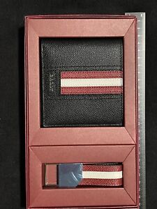 🔥🔥Authentic NEW BALLY GIFT SET Black Leather Bifold Wallet Key Fob🔥🔥