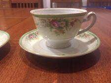 VTG GRACE CHINA TEA CUP SAUCER GOLD RIM WHITE PORCELAIN GARDEN COFFEE JAPAN