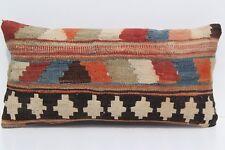 "24""x12"" Persian Shiraz kilim pillow cover Handmade Shiraz vintage kelim area rug"