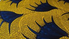 African Ankara 100% Cotton Print for Dress Making & Craft 6 Yards Blue & Yellow