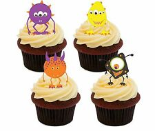 Monster PACK-COMESTIBLE CUPCAKE TOPPERS, Stand-Up Hada Cake Bollo Decoraciones Niños