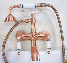 Antique Red Copper Wall Mounted Clawfoot Bath Tub Faucet With Handheld Shower
