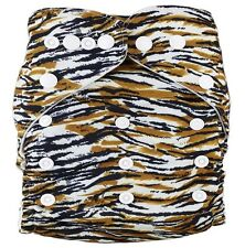 Modern Cloth Reusable Washable Baby Nappy Diaper & Insert, Tiger Pul
