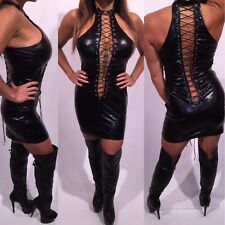 Connie's Black Wet look Lace Front & Back Micro Mini Club Dress   OS Or One Size
