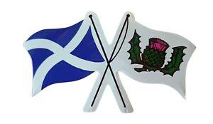 Scottish Emblem Car Sticker Crossed Flags Scotland St Andrews Thistle by Castle