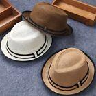 Kid Boy Girl Summer Straw Flat Top Fedora Cap Sun Hat Blues Jazz Dance MAD